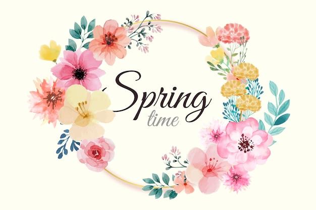 Marco floral acuarela primavera con flores rosas