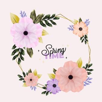 Marco floral acuarela primavera