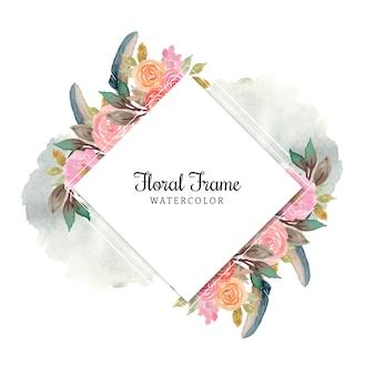 Marco floral acuarela rosa con pluma