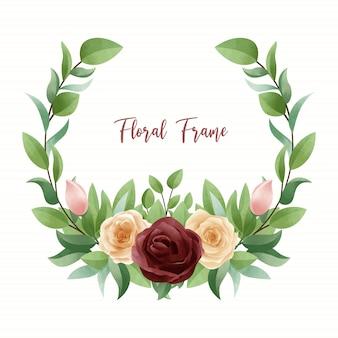 Marco floral acuarela rosa roja y amarilla