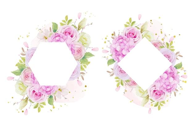 Marco floral con acuarela rosas rosadas y flor de hortensia azul