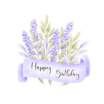 Marco floral acuarela tarjeta de cumpleaños.