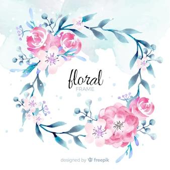 Marco floral de acuarela