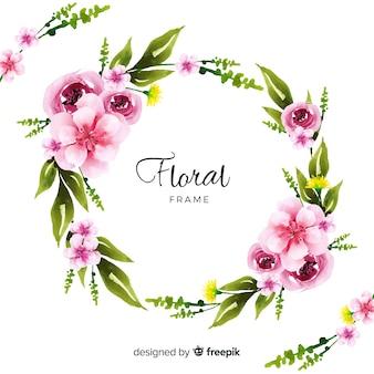 Marco floral en acuarela