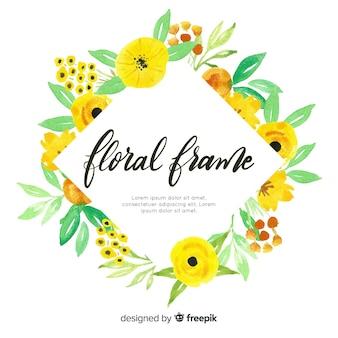 Marco floral adorable en acuarela
