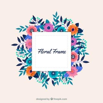 Marco floral adorable con diseño plano