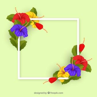 Marco floral adorable con estilo realista
