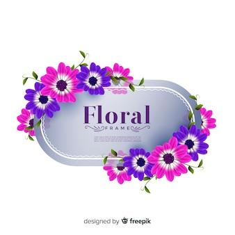 Marco floral adorable con diseño realista