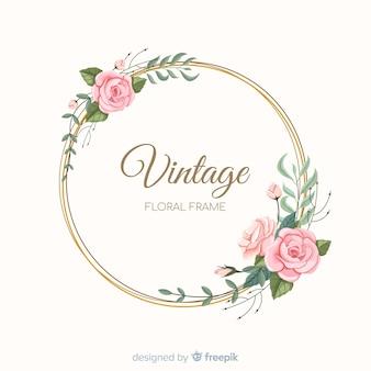 Marco floral adorable con diseño vintage