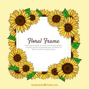 Marco floral adorable con estilo de dibujo a mano