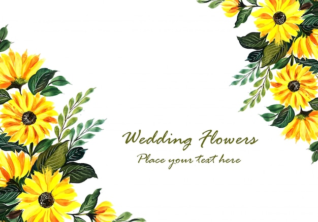 Marco floral amarillo decorativo de boda