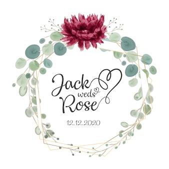 Marco floral de la boda del color del agua de borgoña y del rubor
