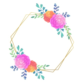 Marco floral de boda estilo hexagonal