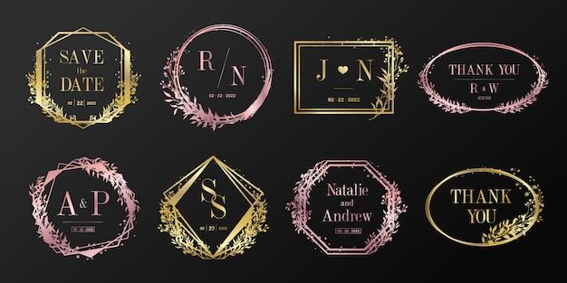 Marco floral para boda monograma, logotipo de marca y diseño de tarjeta de invitación.