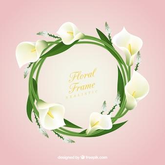 Marco floral con calas realistas