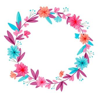 Marco floral circular acuarela pintado a mano