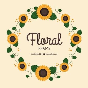 Marco floral circular con diseño plano