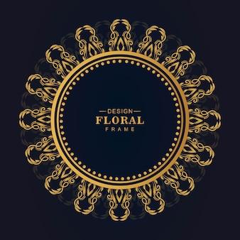Marco floral circular dorado ornamental