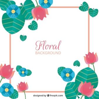 Marco floral colordio con diseño plano