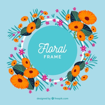 Marco floral colorido con diseño plano
