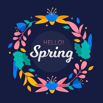 Marco floral colorido hola primavera
