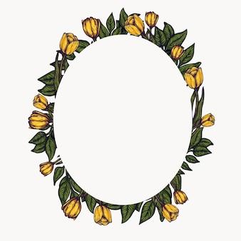 Marco floral composición de follaje de primavera, arreglo de círculo de guirnalda de flores.