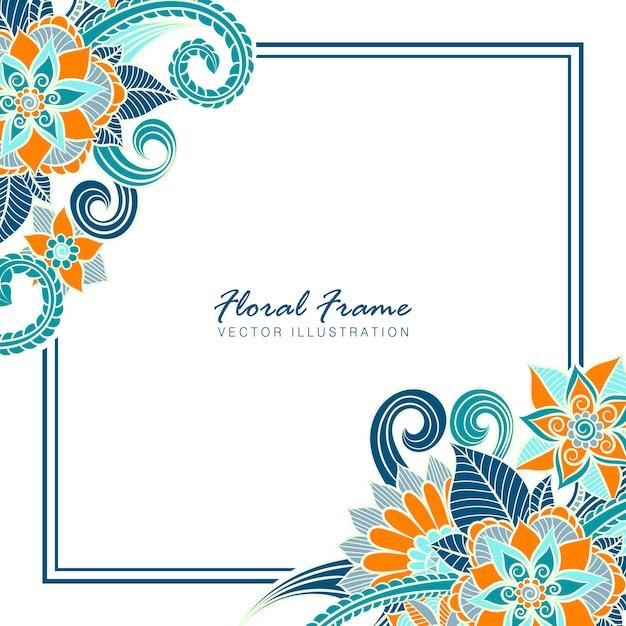 Marco floral con flores de colores.