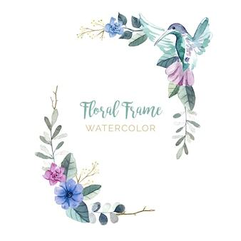 Marco floral con pájaros