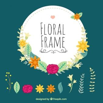 Marco floral dibujado a mano con detalles florales