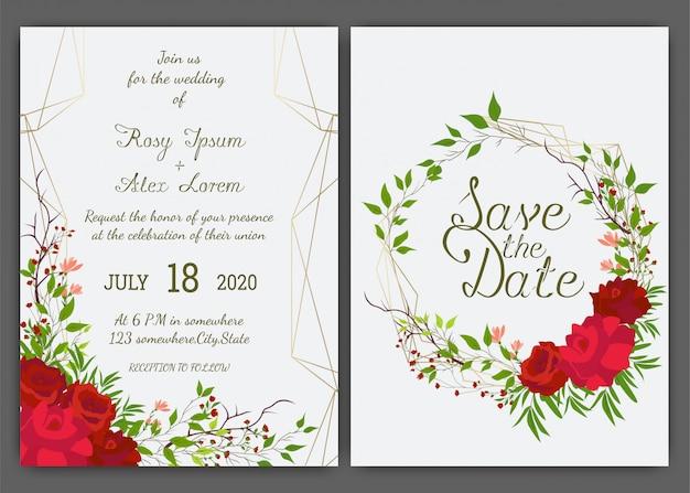 Marco floral dibujado a mano para una invitación de boda