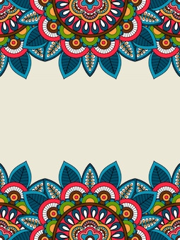 Marco floral del doodle indio vertical