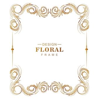 Marco floral dorado creativo ornamental con fondo blanco