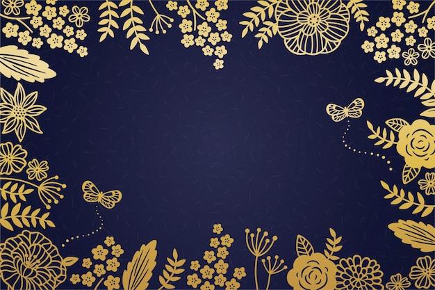 Marco floral dorado decorativo sobre fondo azul oscuro