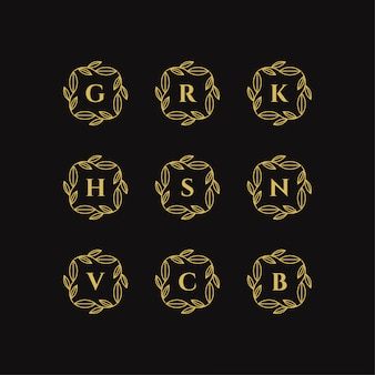 Marco floral dorado con ilustración de vector de plantilla de logotipo de letra