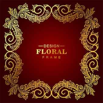 Marco floral dorado ornamental