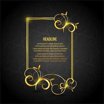 Marco floral dorado sobre un fondo negro