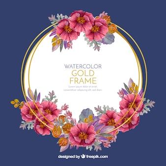 Marco floral elegante con estilo de acuarela