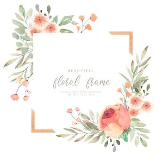 Marco floral elegante con flores de acuarela