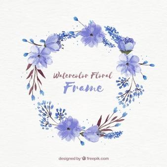 Marco floral en acuarela con diseño circular