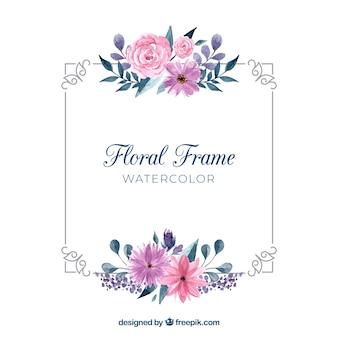 Marco floral en acuarela con estilo adorable