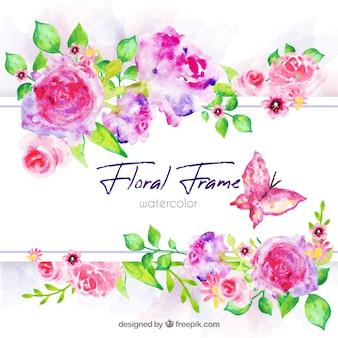 Marco floral en acuarela con estilo colorido