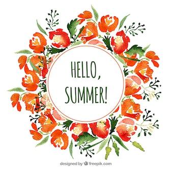 Marco floral en acuarela con estilo de verano