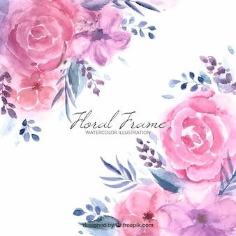 Marco floral en estilo acuarela