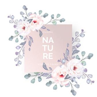 Marco floral encantador con flores románticas