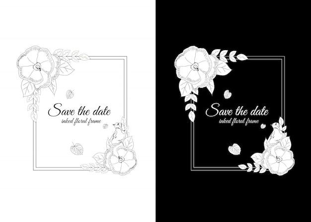 Marco floral entintado en blanco y negro con golondrinas.