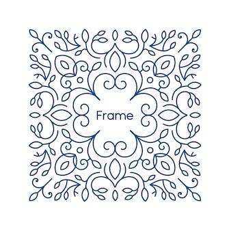Marco floral con espacio para copiar texto en un moderno estilo de línea mono
