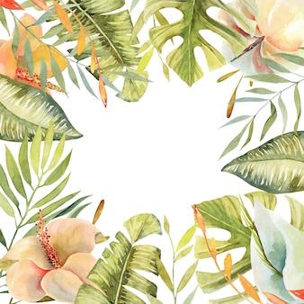 Marco floral de flores de hibisco acuarela, plantas verdes tropicales y hojas