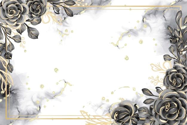 Marco floral de fondo acuarela rosa negro y dorado con espacio en blanco