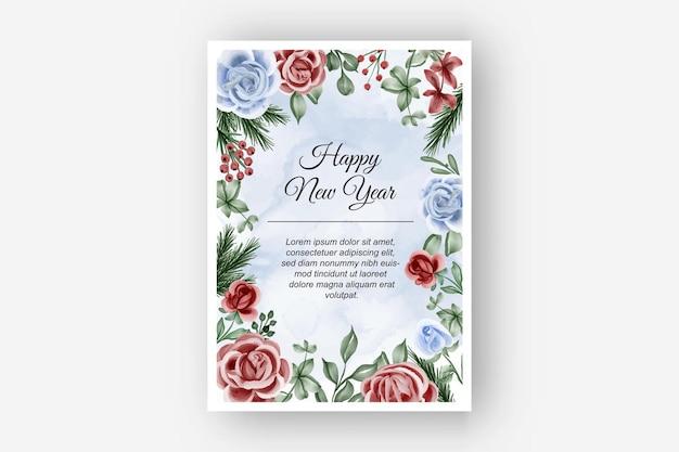 Marco floral con fondo de año nuevo de invierno de tema azul rojo rosa