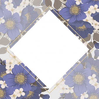 Marco floral de fondo - flores de color azul claro